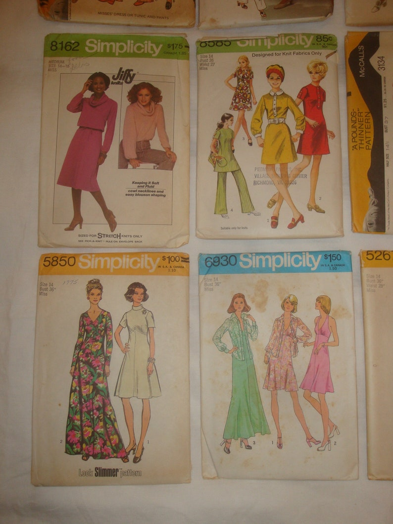 36 Bust Vintage Women/'s Sewing Patterns 1950s 1960s 1970s lot of 28 patterns