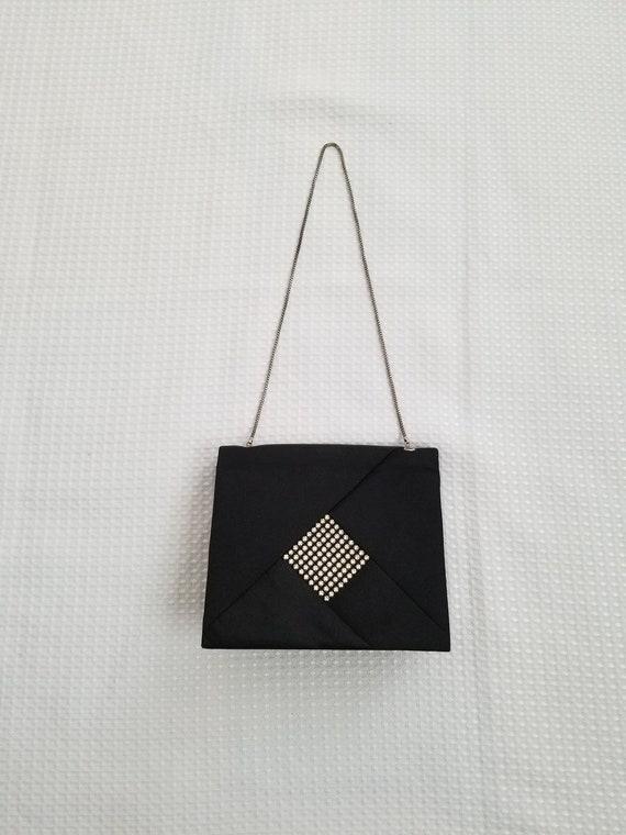 Boxy Evening Handbag Black Satin Rhinestone Vintag