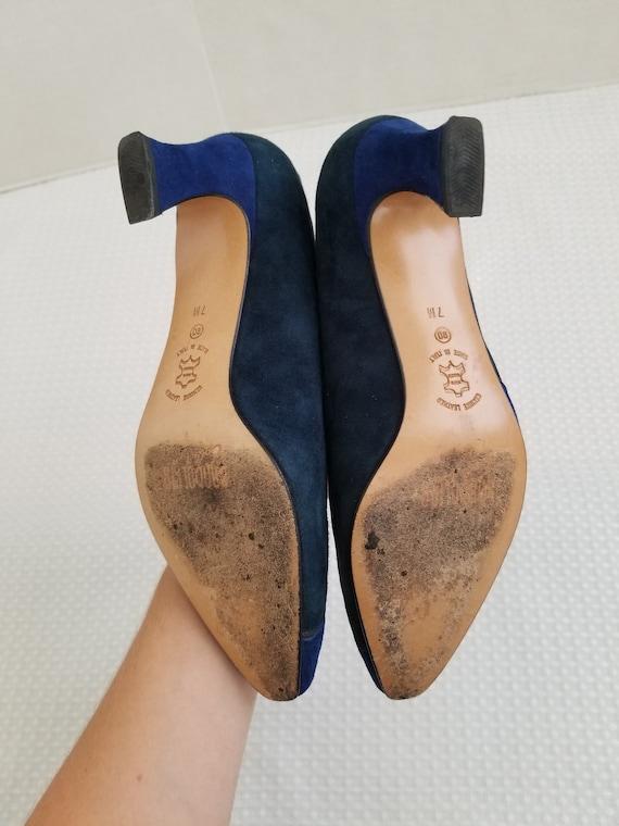 Abstract Colorblock Suede Shoes Heels Bandolino 1… - image 3