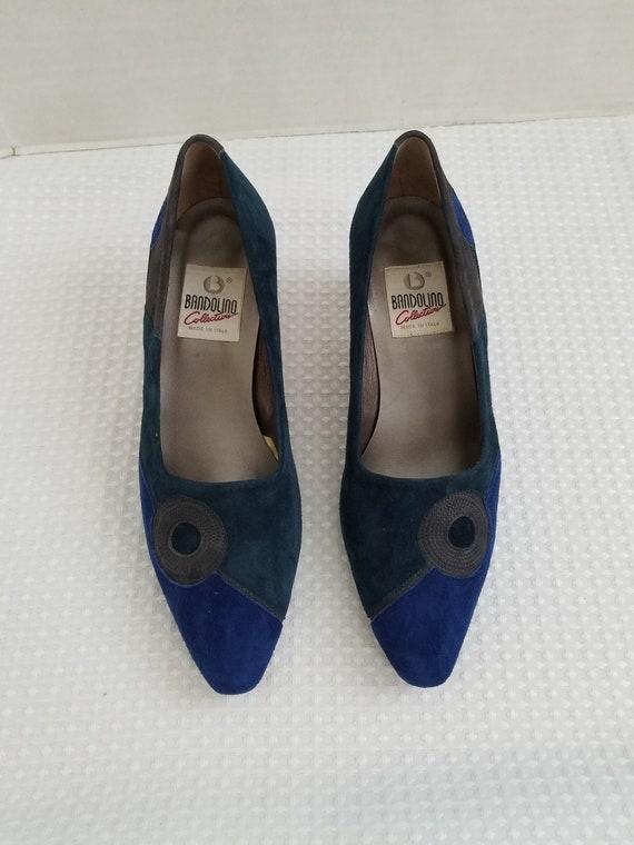 Abstract Colorblock Suede Shoes Heels Bandolino 1… - image 2