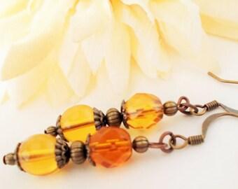 Topaz Earrings, Copper Anniversary Gift for Wife, Amber Earrings Boho Earrings Dangle Yellow Glass Earrings, Birthday Gift for Sister in Law