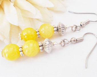 Lemon Yellow Earrings Clip On Earrings Dangle, Bridesmaids Gift, Spring Wedding Jewelry Sterling Silver Handmade Gift for Her Bridal Jewelry