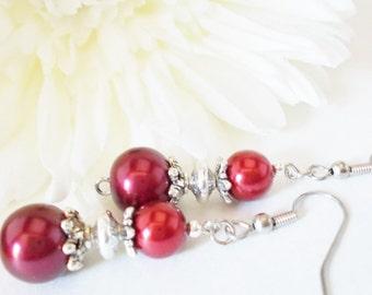 Ruby Red Pearl Earrings Bridesmaids Gift, Fall Wedding Jewelry Sterling Silver, Clip On Earrings Dangle, Boho Bridal Earrings Autumn Jewelry