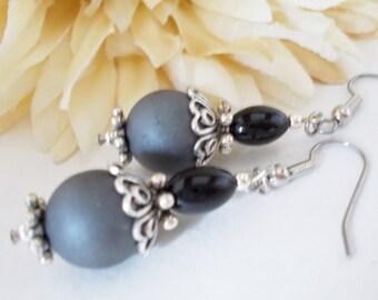 Pewter Gray Earrings Sterling Silver Jewelry, Birthday Gift for Her, Boho Earrings Bohemian Jewelry, Minimalist Jewelry, Black Grey Earrings