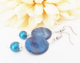 Royal Blue Earrings, Blue Dangle Sterling Silver Earrings, Birthday Gift for Mom, Boho Earrings Bohemian Jewelry Handmade, Natural Earrings