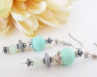 Mint Green Earrings Gray Sterling Silver, Summer Wedding Jewelry Clip On Earrings, Birthday Gift for Her, Boho Bridal Earrings Dangle Beaded