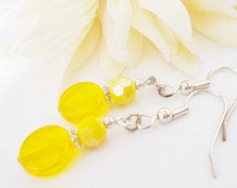 Yellow Earrings Bridesmaids Gift for Her, Clip On Spring Wedding Jewelry Dangle Earrings Handmade, Inspiration Earrings, Gift for Women