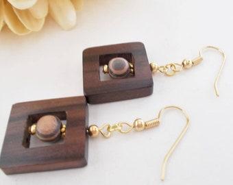 Wood Beaded Earrings, Boho Earrings Dangle Handmade Jewelry, Tribal Earrings, Bohemian Jewelry Leverback Earrings Nickel Free Square Earring