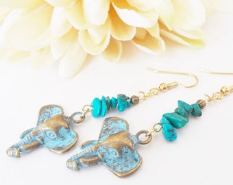 Inspiration Earrings, Elephant Earrings Dangle Turquoise Jewelry, Boho Earrings Bohemian Jewelry Ganesh Gypsy Beaded Jewelry Handmade Gift