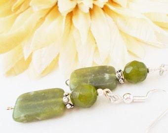 Green Jade Earrings Sterling Silver Jewelry, Gift for Mom, Boho Earrings Bohemian Beaded Dangle Earrings Clip On, Birthday Gift for Daughter