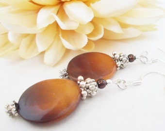 Brown Shell Earrings Sterling Silver, Mother of Pearl Jewelry Handmade Gift, Statement Earrings, Gardening Gifts for Her, Mom Birthday Gift