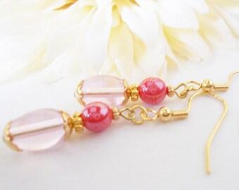 Blush Pink Earrings Gold, Flower Girl Earrings, Spring Wedding Jewelry, Glass Drop Earrings Nickel Free Clip On Earrings, Teen Girl Gift