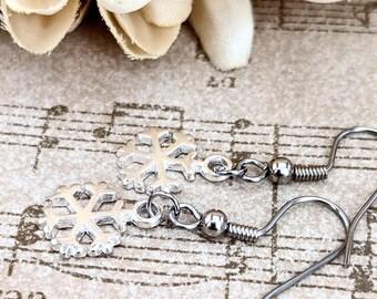 Snowflake Earrings, Winter Earrings, Charm Earrings Sterling Silver, Christmas Jewelry Holiday Earrings, February Birthday Gift for Daughter