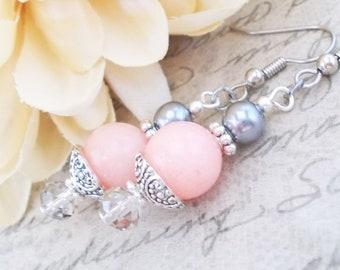 Pink Gray Earrings Sterling Silver Bridal Jewelry, Summer Wedding Earrings Clip On, Coral Pink Earrings Gift Bridesmaids Earrings Set of 6