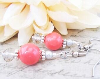 Coral Earrings Pink Wedding Jewelry, Summer Bridal Earrings Sterling Silver, Bridesmaids Earrings Set of 6, Clip On Earrings Boho Dangle