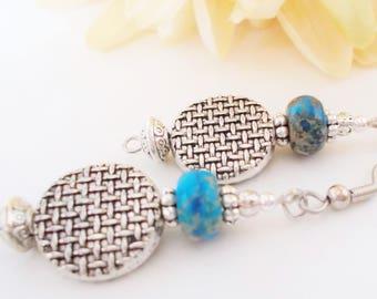 Boho Earrings Turquoise Earrings Sterling Silver Dangle Bohemian Jewelry Handmade, Inspirational Earrings, Gift for Her, NonPierced Earrings