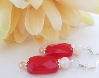 White Red Earrings, Beaded Dangle Earrings Sterling Silver Earrings, Birthday Gift for Women, Crystal Earrings Bridal, Inspirational Jewelry