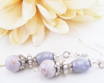 Lavender Earrings Sterling Silver, Summer Wedding Jewelry Handmade, Lilac Earrings Boho Bridal Earrings Bridesmaids Gift Mother of the Bride