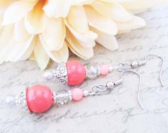 Spring Wedding Jewelry Sterling Silver, Pink Coral Earrings Bridesmaids Gift, Boho Bridal Earrings Handmade, Clip On Dangle Earrings for Her