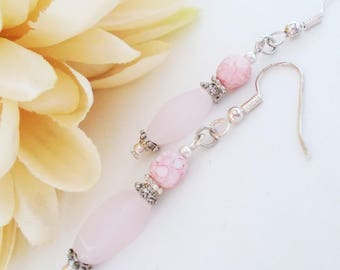 Blush Pink Earrings Bridal Jewelry Bridesmaids Gift, Beaded Dangle Earrings Sterling Silver Jewelry, Spring Wedding Jewelry Clip On Earrings