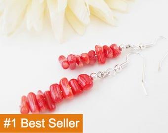Red Coral Earrings Sterling Silver, Boho Beaded Dangle Earrings Clip On, Birthday Gift for Girlfriend, Best Selling Item, Bohemian Jewelry