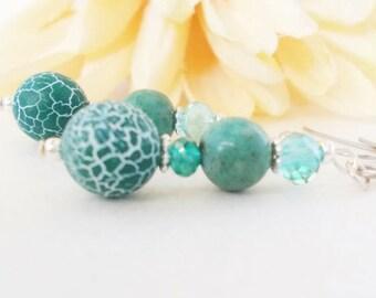 Statement Earrings, Teal Earrings Sterling Silver Jewelry, Bohemian Jewelry Handmade, Boho Beaded Earrings Dangle Clip On, Birthday Gift Mom