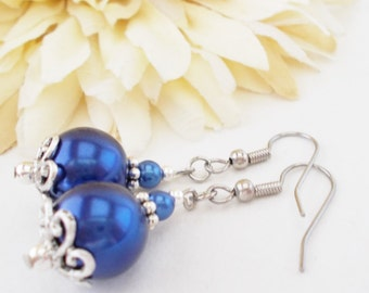 Navy Blue Earrings Sterling Silver Jewelry, Bridesmaids Gift, Birthday Gift, Spring Wedding Jewelry Clip On, Blue Pearl Earrings Bridal Gift