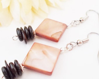 Inspiration Earrings, Brown Clip On Mother of Pearl Bohemian Earrings Sterling Silver Jewelry Gift, Birthday Gift for Mom, Jewelry Handmade