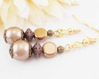 Copper Anniversary Gift for Wife, Bridal Pearl Earrings, Bridesmaids Earrings Gift for Her, Spring Wedding Jewelry, Clip On Earrings Bronze
