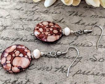 Mother of Pearl Earrings, Boho Earrings Dangle Clip On Earrings, Bohemian Earrings Natural Jewelry, Birthday Gift for Sister, Teen Girl Gift