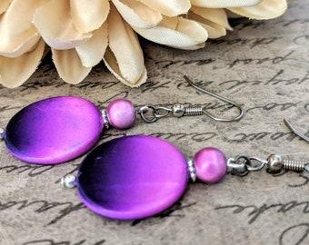 Purple Earrings, Mother of Pearl Jewelry, Gifts for Tween Girl, Birthday Gift for Daughter, Boho Earrings Dangle, Natural Earrings Beaded