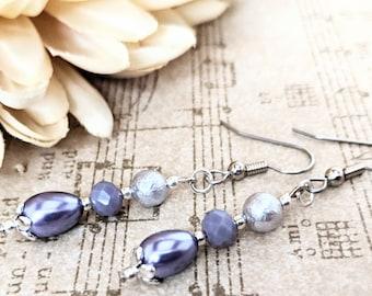 Lavender Earrings, Bridal Jewelry Sterling Silver, Bridesmaids Gift for Her, Purple Clip On Earrings, Lever Back Earrings Pearl Drop Earring