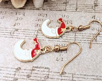 Christmas Earrings, Santa Hat Earrings, Celestial Jewelry Handmade Earrings, Charm Earrings Red, Moon Earrings, Whimsical Earrings Casual