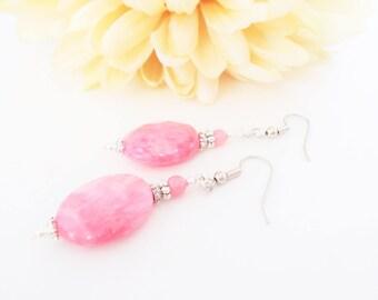 Rhodochrosite Earrings, Sterling Silver Earrings, Boho Earrings, Mother Gift for Her, Artisan Jewelry, Pink Stone Earrings, Stocking Stuffer