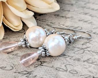 Teardrop Earrings, Blush Pink Pearl Earrings Bridesmaids Gift, Boho Bridal Earrings, Wedding Jewelry Sterling Silver Earrings, Victoria