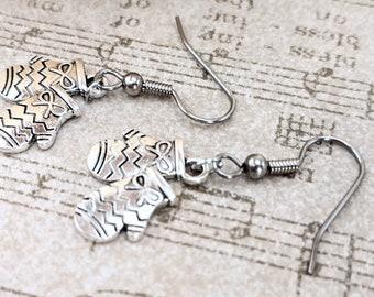 Mitten Earrings, Charm Earrings Sterling Silver, Pewter Earrings Dangle, Lever Back Earrings Hypoallergenic, Whimsical Earrings Christmas