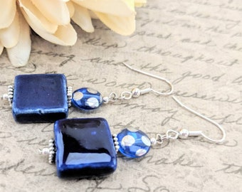 Navy Blue Earrings Dangle, Ceramic Earrings, Birthday Gift for Daughter, Teen Girl Gift, Dark Blue Earrings Handmade, Best Selllng Jewelry