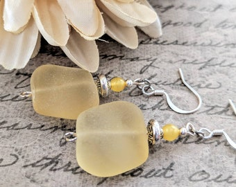 Boho Jewelry, Yellow Seaglass Earrings, Lemon Yellow Earrings, Glass Drop Earrings, Sterling Silver, Bohemian Dangle Earrings, Gift for Her