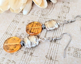 Honey Core Jewelry, Amber Leverback Earrings Sterling Silver, Birthday Gift Ideas, Pale Yellow Clip On Earrings Hypoallergenic Daughter Gift