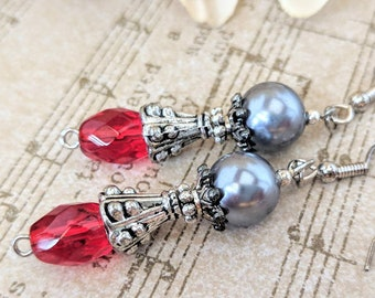 Red Earrings Sterling Silver Earrings Gray Pearl Earrings Victorian, Best Selling Jewelry Statement, Fall Wedding Earrings Bridesmaids Gift