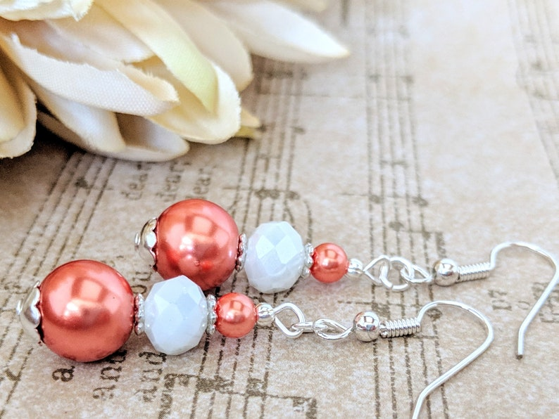 Bridesmaids Jewelry Gift for Her Spring Wedding Jewelry Artisan Coral Pearl Earrings Boho Dangle Earrings Handmade Jewelry Gift for Women