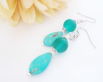 Turquoise Earrings, Teardrop Earrings Boho Beaded Earrings Dangle, Birthday Gift for Her, Summer Earrings, Aqua Earrings Sea Glass Jewelry