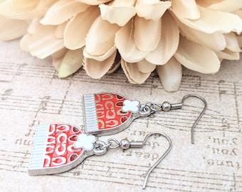 Winter Earrings, Charm Earrings Sterling Silver, Red Hat Earrings, Red and White Fair Isle Stocking Hat Jewelry Handmade, Cute Earrings Drop