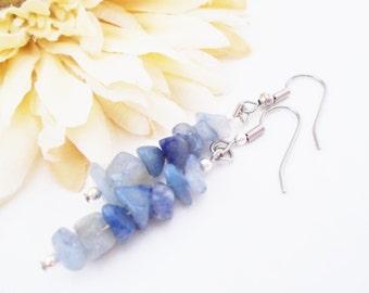 Sodalite Earrings, Dark Blue Earrings Sterling Silver Jewelry Handmade, Gift for Her, Boho Earrings Bohemian Jewelry, Beaded Dangle Earrings