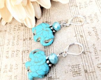 Elephant Earrings, Leverback Earrings Turquoise, Best Selling Items, Tribal Jewelry Earrings, Boho Jewelry Earrings, Mom Birthday Gift Idea