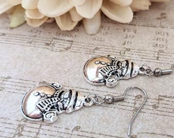Snowman Earrings Dangle, Charm Earrings Sterling Silver, Winter Earrings Christmas Jewelry, Snow Earrings, Holiday Earrings, Silver Snowman