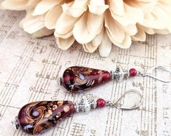 Red Teardrop Earrings Sterling Silver, Artisan Earrings Leverback, Hypoallergenic, Christmas Gift Ideas for Her, Long Dangle Earrings Jade