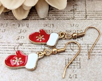Charm Earrings Gold, Mitten Earrings, Fair Isle Jewelry, Christmas Earrings, Nickel Free Jewelry Handmade Earrings Red White Earrings Dangle
