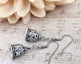 Christmas Earrings, Silver Bell Earrings, Vintage Bell Jewelry Sterling Silver, Birthday Gift for Daughter, Winter Earrings Snow Jewelry