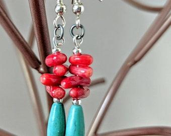 Red Coral Turquoise Earrings, Bohemian Earrings Dangle, Birthday Gift for Her, Statement Earrings Southwest Jewelry, Boho Earrings Handmade
